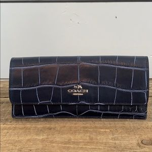 Coach Croc Embossed Leather Wallet- Demin